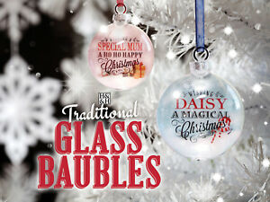 H&H Novelty Personalised Traditional Glass Named Bauble - Choice of Names