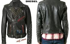 NWT Diesel L-SNEH Mens MOTORCYCLE Leather Black STUDDED Jacket XL X-LARGE **RARE