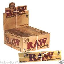 Papel de fumar natural RAW King Size DL. Tamaño 110 mm,caja completa 50 libritos