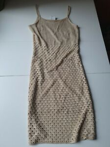 Vintage 90's Crochet Summer Dress Size 12 Strappy Bodycon