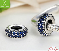PANDORA PAVE SPACER CHARM BLUE STONES 925 STERLING SILVER