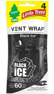 1 Pack Little Trees Black Ice Scent 4 Vent Wrap up to 60 day air freshener clips