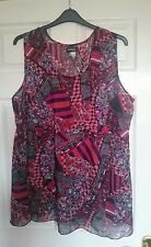 AMBRIA BLACK AND RED MULTI PATTERN VEST TOP SIZE 26