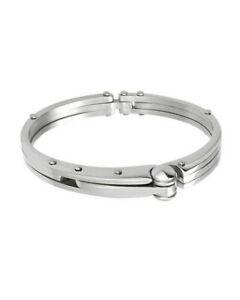 "iJewelry2 Silver-tone Handcuff Motif Stainless Steel Bangle Bracelet 7"""