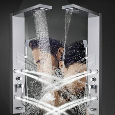 Stanless Stell Shower Panel Tower Rain Waterfall With Massager Body Jet Mix Tap