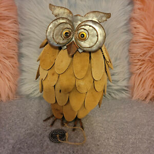 Rustic Harvest Decor Wooden Owl New With Tags Metal Wood 12""