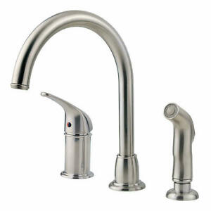 Pfister Cagney Single-Handle Standard Kitchen Faucet with Side Sprayer, NEW