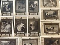 ~ Lot of 14 ~Artist Scenes in Frames~Palettes~Antique~Greetings POSTCARDS--s520