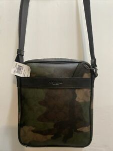 Coach Men's Flight Bag Crossbody F59913 QB/Mhgny/Dark Green Camo QBMGQ