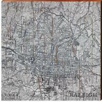 City of Raleigh, North Carolina Black & White Topographic Map