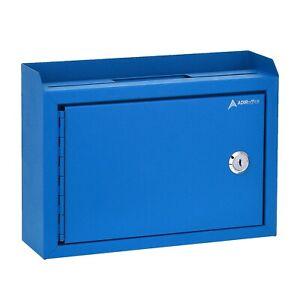 AdirOffice Blue Slot Drop Box Steel Safe Letter Cash Mail Box Wall Mountable
