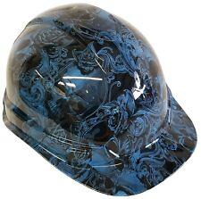 Hydro Dipped Hard Hat Ridgeline Cap Style Custom Light Blue Filigree Skulls