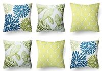 Cotton Floral Design Cushion Covers (Blue-Green-Lime; 16x16 inch) - Set of 6