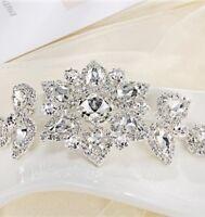 DIAMANTE SEW On Sewing rhinestone APPLIQUE TRIM Wedding Sash Bridal Dress Hair
