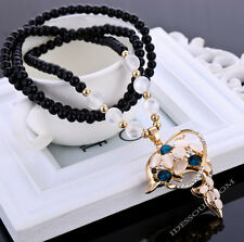 Damen Halskette Perlen AAA Zirkonia Strass Handarbeit Collier Delphin Anhänger