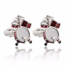 CMJ Pair of Novelty Red Drum Kit Cufflinks Musical Drummer UK Seller Gift Bag