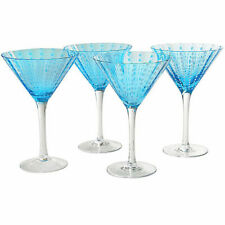 NEW IN BOX $ 80 CAMBRIA TURQUOISE  Set of 4 MARTINI Glasses