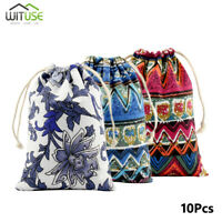 Retro Cotton Jewelry Pouch Drawstring Gift Bags Wedding Party DIY Craft 10Pcs 0