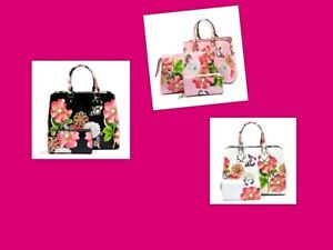 HANDBAG 3 PC SET BLACK,PINK,BEIGE Glossy Flower Printed 3-in-1 Satchel