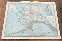 "1903 large colour fold out map titled "" alaska """