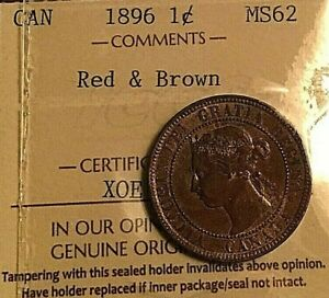 1896 Canada Victoria Large Cent Penny - ICCS MS-62 - Uncirculated Red Brown