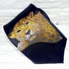 Cravatta nera da uomo con GHEPARDO 100% seta, stampato, alta qualità TOP