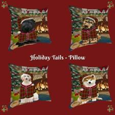 Christmas Stocking Hung Dog Cat Pet Photo Throw Decorative Pillow 14x14 In