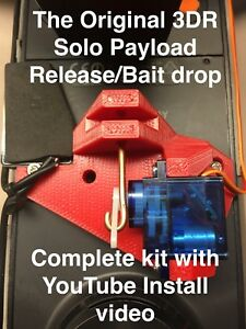 3DR Solo, payload release, bait drop, DRONE FISHING, 3d robotics, ON SALE! Red