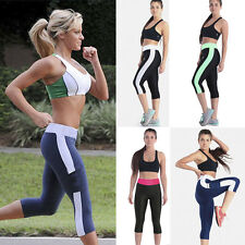 Womens YOGA Gym Sports Capri Pants Stretchy Running Tights Cropped 3/4 Trousers