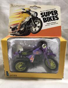 1982 Zee Intex Super Bike Purple KDX Dirt Bike No. 26 Die Cast Metal NIB Working