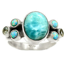 Larimar & Blue Topaz 925 Silver Ring Jewelry s.7.5 RR59475