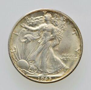 1945-S U.S. Walking Liberty Half Dollar 50 Cent Choice AU San Francisco Mint
