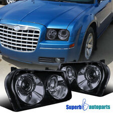 For 2005-2010 Chrysler 300 Smoked Projector Headlights Glossy Black Replacement