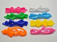 24 Mixed Color Assorted Plastic Hair Barrette Clip Bow Pin DIY Craft