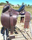 "14""  child's Stockman's Bush Rider Australian stock saddle w/horn, fittings"