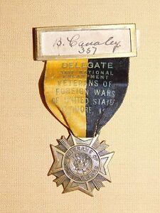 VINTAGE WWI  1950 VFW  BALTIMORE  ENCAMPMENT  MEDAL RIBBON PIN