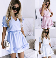 Womens Short Fall Party Slim UK trim Holiday Tops Baggy Loose Mini Dresses