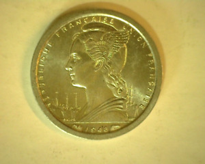 1948 French Equatorial Africa 1 Franc Coin -Winged Bust Left / Lodger's Gazelle