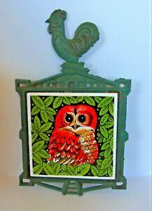 Vintage 70's Owl Tile Iron Trivet green & orange
