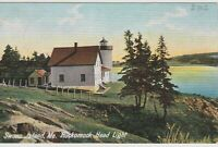 HOCKOMOCK SWAN ISLAND LIGHTHOUSE Vintage postcard US Coast Guard- Maine
