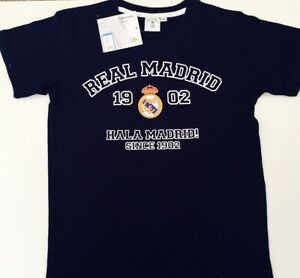 REAL MADRID T-SHIRT CHILDRENS 5-6 YEARS NAVY COTTON 100% OFFICIAL FCRM PRODUCT