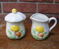 Vintage Ceramic Mushroom Sugar and Creamer with Lid Set