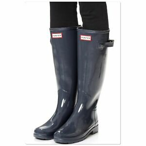 Women's Original Hunter boots tall gloss Dark Slate 8 (torn box)
