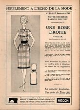 ▬► Patron Couture Supplément Écho de la Mode Robe Droite Taille 38 N°38 1961