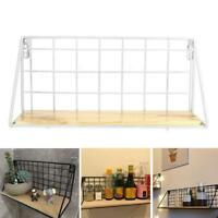 Wall Storage Unit Retro Wood Industrial Style Metal Wire Cube Shelf Hanging Rack