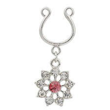 1pc Non Piercing Clip On Dangle with Crystal Flowers Nipple Ring / Shield HW