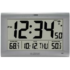 Wireless 10.65-in Jumbo Atomic Digital Wall Clock with Outdoor Temperature