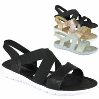 Ladies Flat Elastic Strap Shiny Comfy Womens Summer Peeptoe Sandals Shoes Sizes