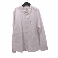 Levis Mens 2XL XXL Solid White Long Sleeve Button Front Oxford Cotton Shirt