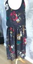 Animal Sheer Floaty Black Floral Print Summer Dress New With Tags Size 10